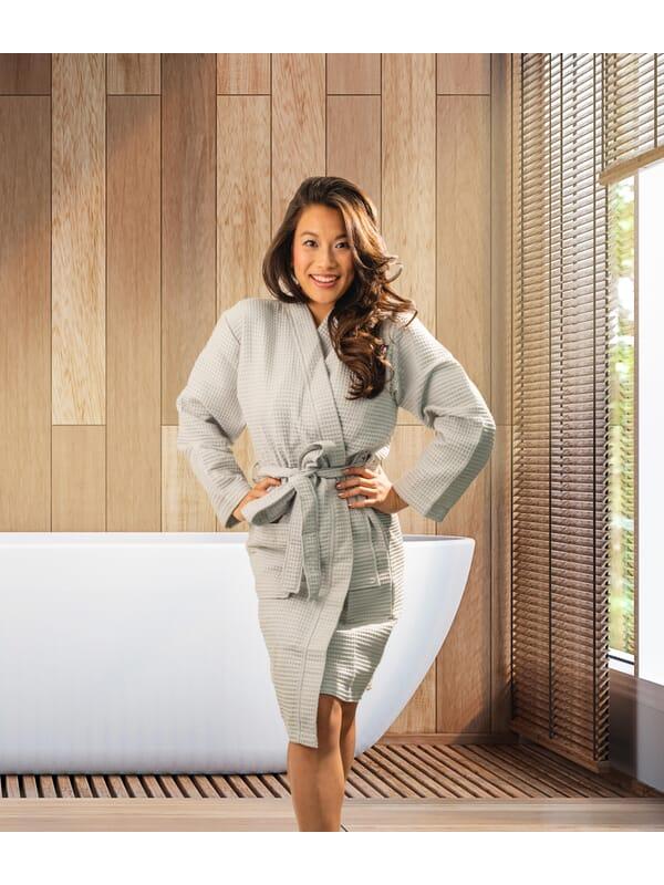 Kayori Geisha - Badjas - Wafel - Zilvergrijs